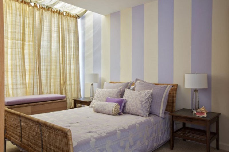 Contemporary Bedroom With Striped Wall