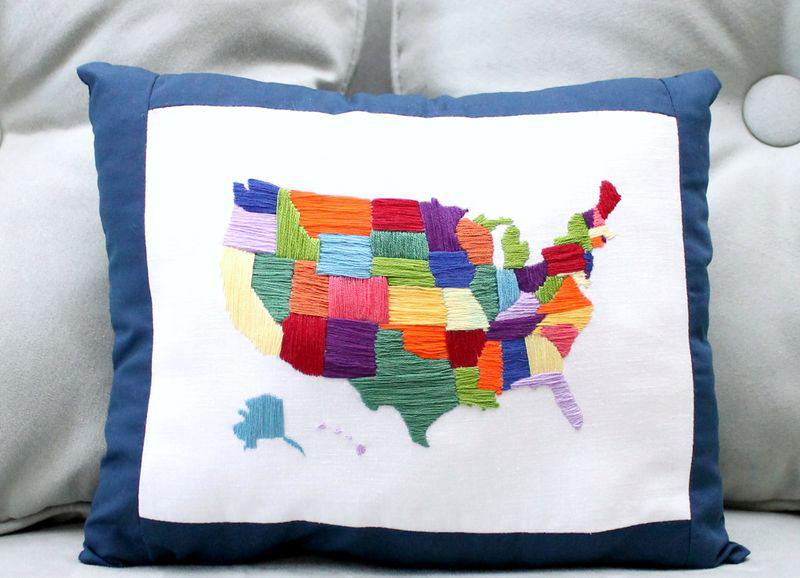 Embroidered Map Pillow
