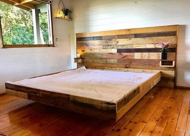Great Platform Bed With Floating Night Stand