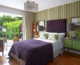 Green Striped Color Bedroom