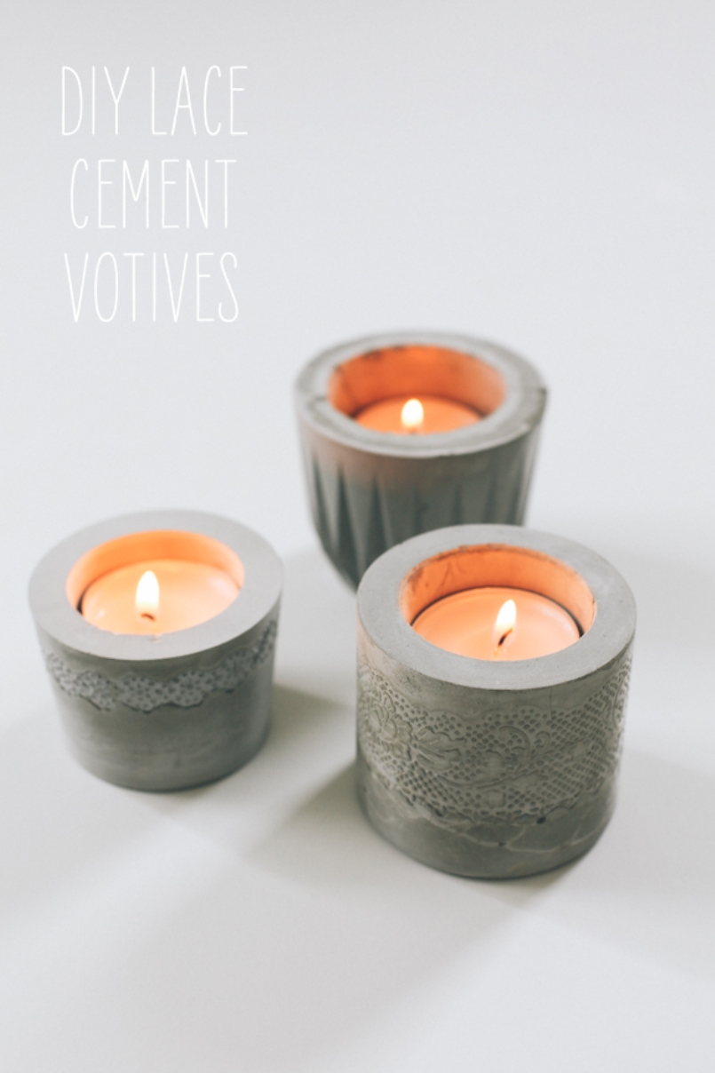 Laced Cement Votive