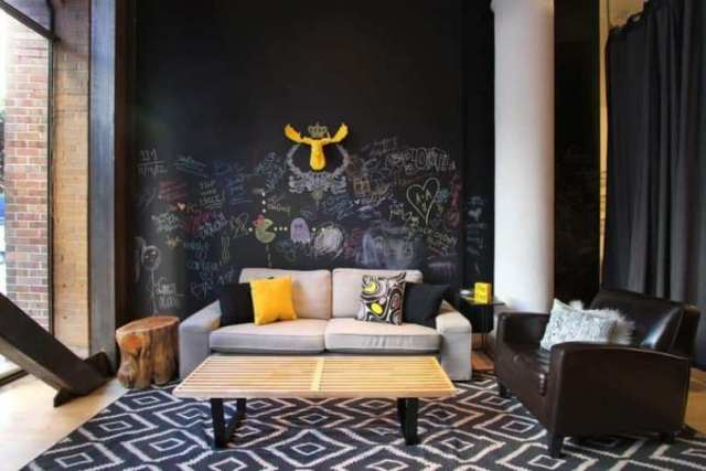 Living Room With Chalkboard