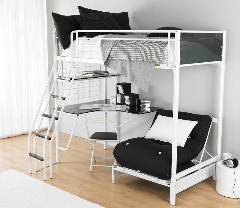 Modern Loft Bed With Bunker
