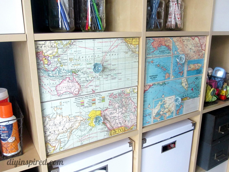 Recycled Map Drawer Makeover