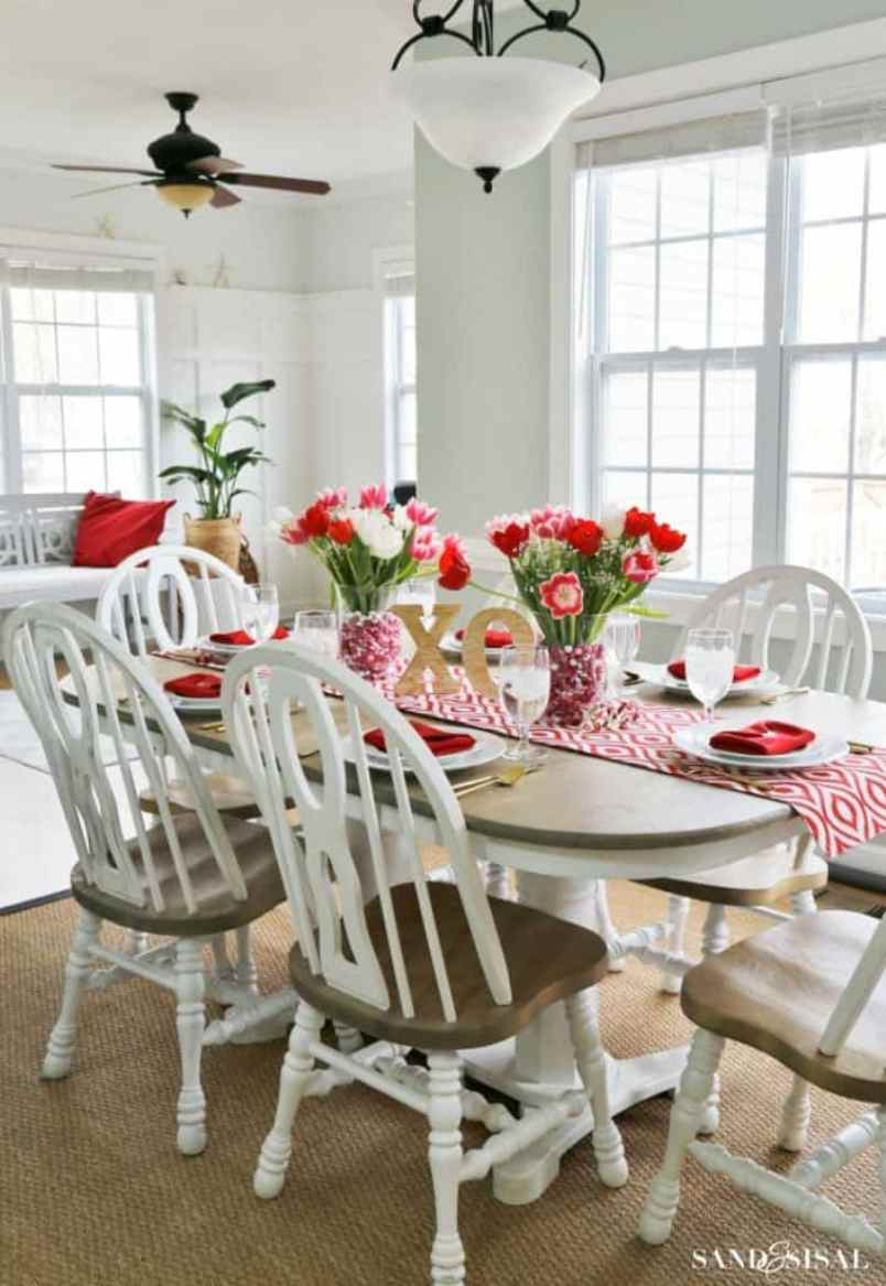 Red White And Pink Valentine Table