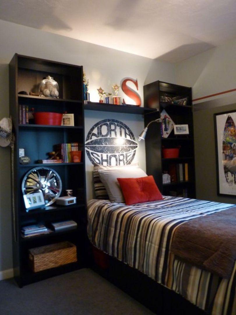 Teenage Boy Room With Headboard Storage