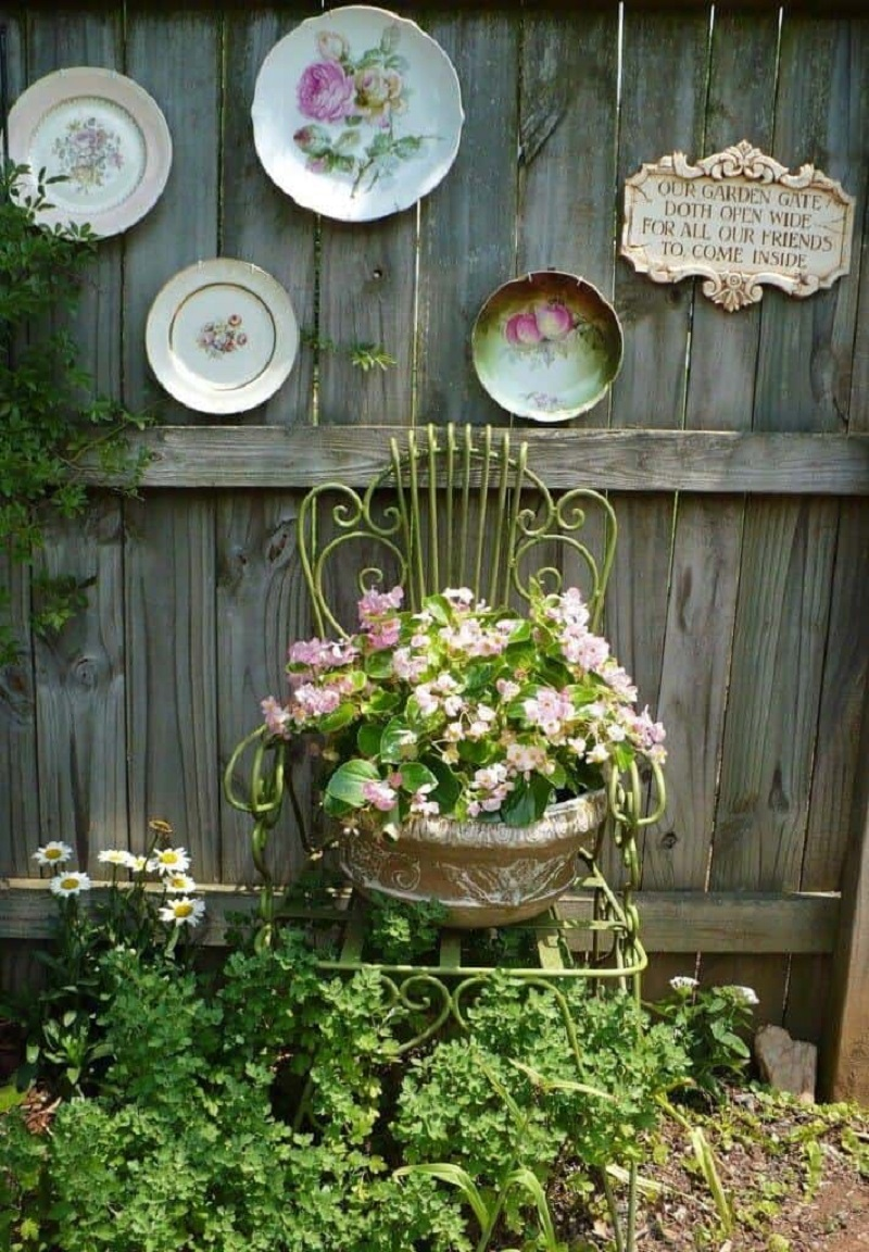 Vintage Garden With Plates