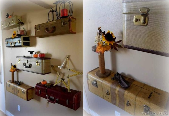 Wall Shelves From Suitcase