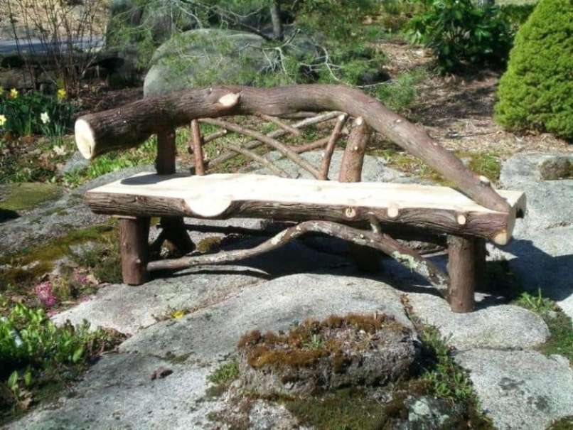 Wood Log Bench