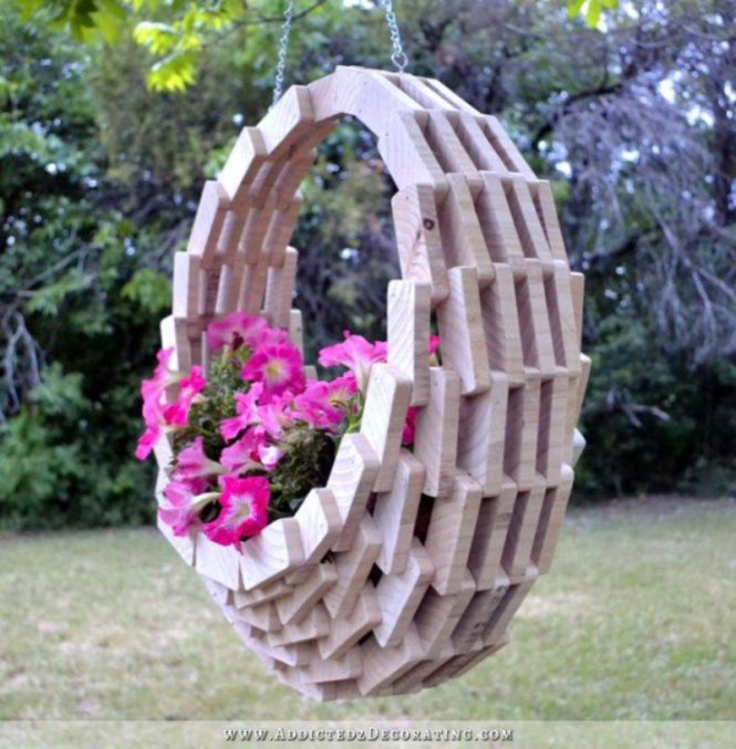 Wooden Basket Planter