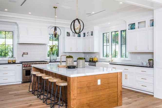 Wooden Island With Stone Countertop