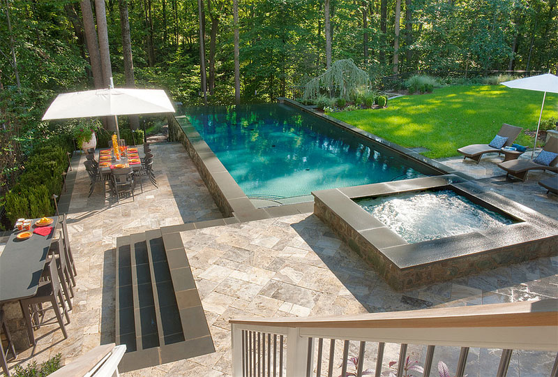 Above Ground Pool With Beautiful Landscape