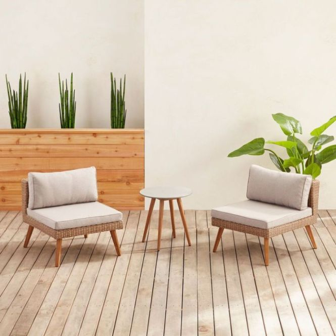 Armless Chair & Side Table Set