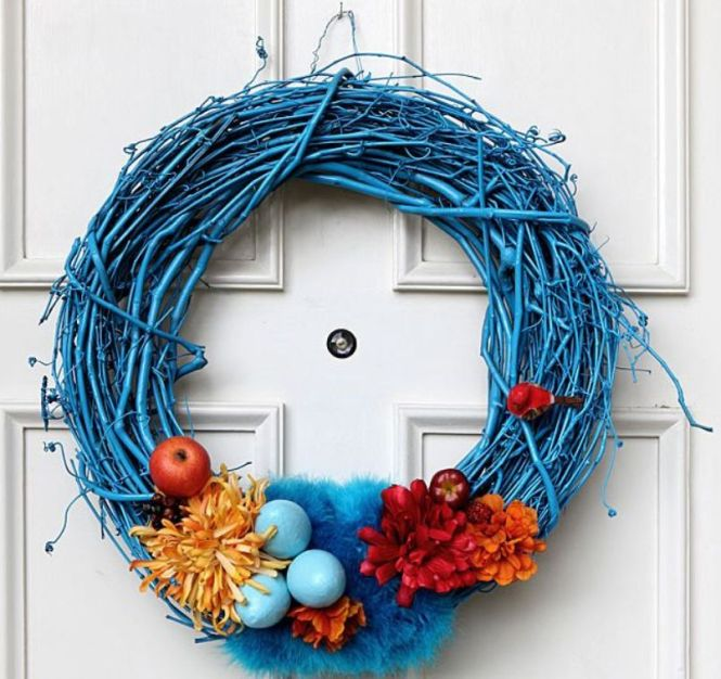 Blue Sprayed Wreath For Easter