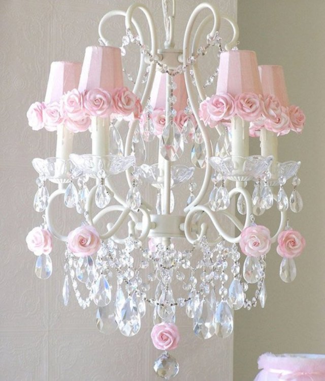 Chandelier With Pink Rose Shades