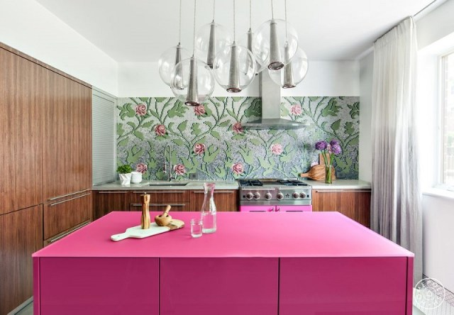 Chic And Sophisticated Pink Kitchen
