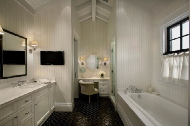 Herringbone Pattern At Bathroom