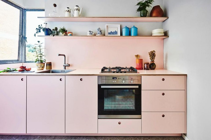 Kitchen Design In Modern Minimalist Pink