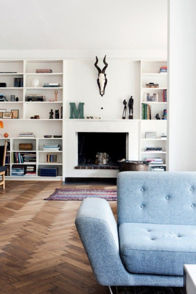 Living Room With Herringbone Patterned Floor