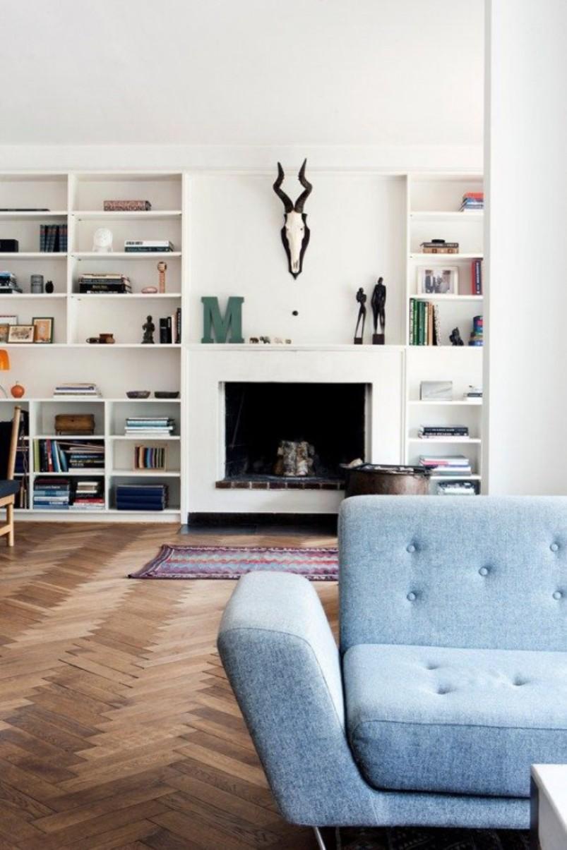 Living Room With Herringbone Patterned Floor