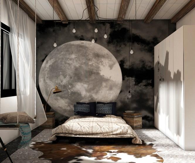 The Moon On A Dark Night Sky
