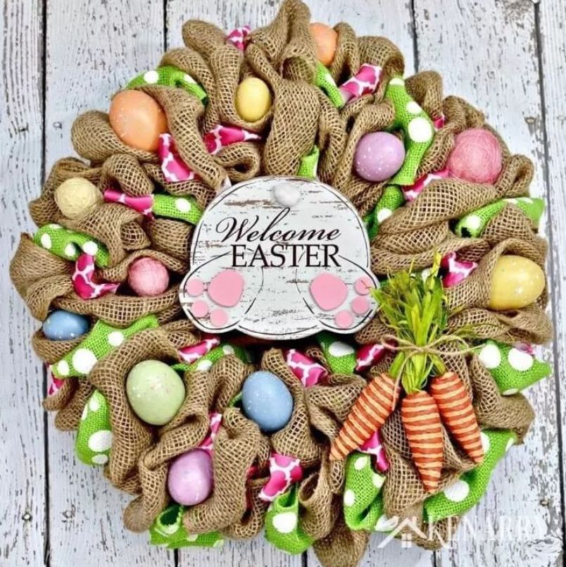 Welcome Easter Burlap Wreath
