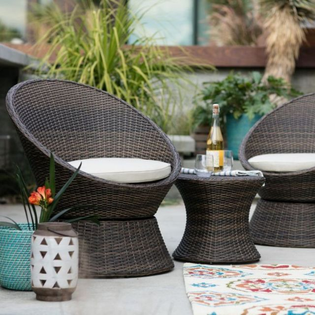 Wicker 3 Piece Swivel Chairs & Table Set