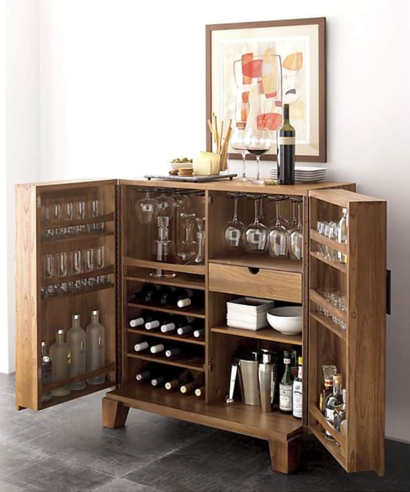 With Mini Bar Cabinet