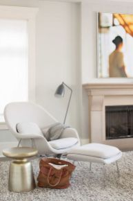 Comfy Mid Century Inspired White Chair