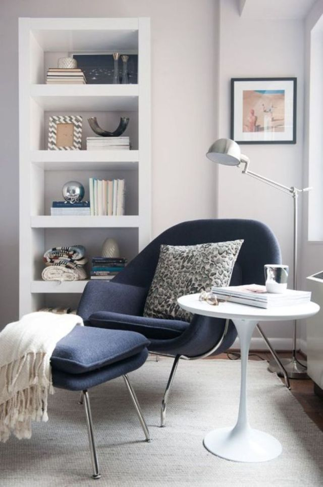 Navy Chair And A Footrest