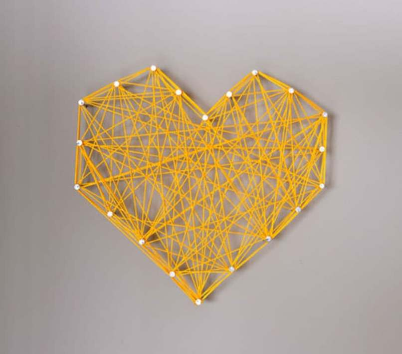Rubber Band Heart Shaped Wall Art