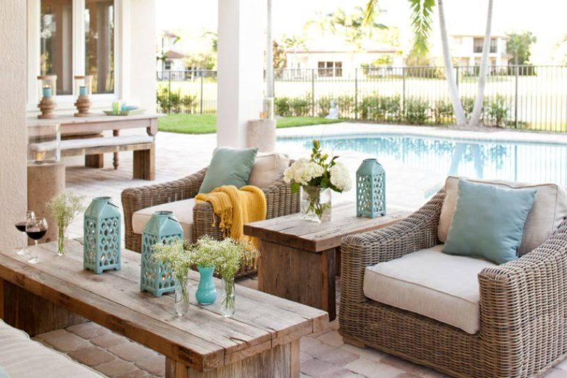Small Rustic Patio With Aqua Touch