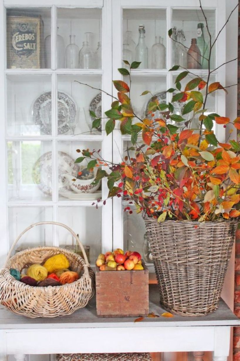 With Colorful Yarn And Fall Leaves