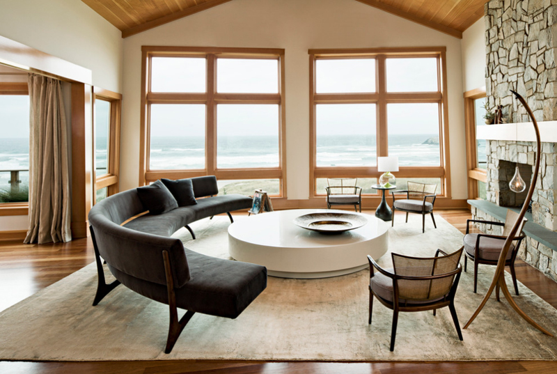 Curved Couch For Coastal Living Room