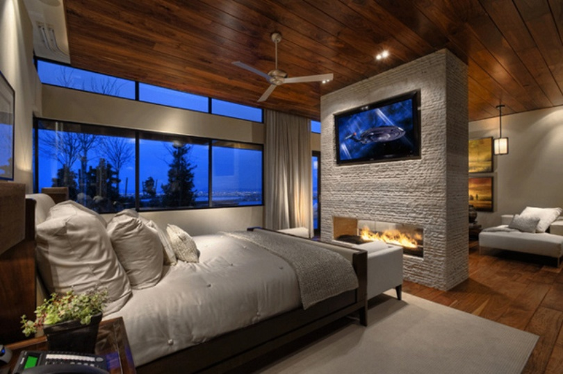 Stunning Bedroom With Fireplace