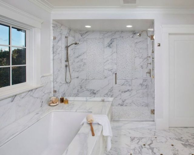 White Bathroom With Double Shower