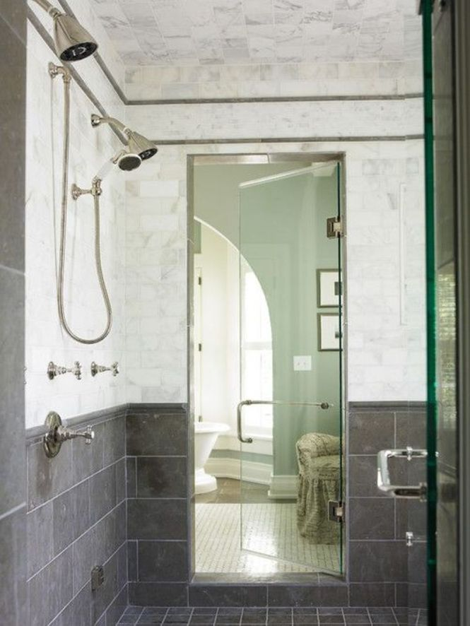 Black And White Bathroom With Double Shower