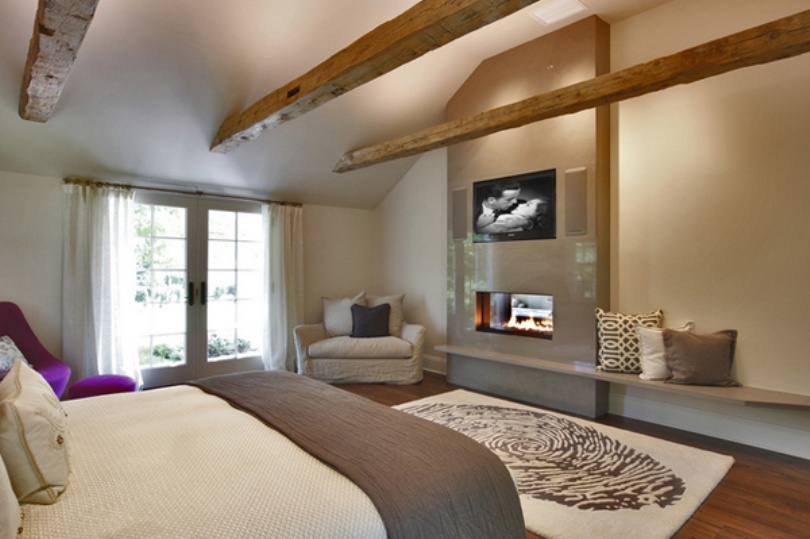 Handsome Bedroom With Fireplace