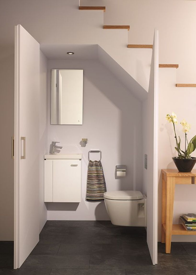 Small Contemporary Powder Room In All White
