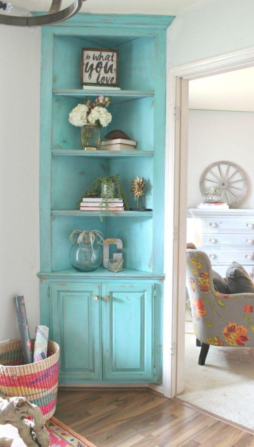 Turquoise Shabby Chic Corner Cabinet