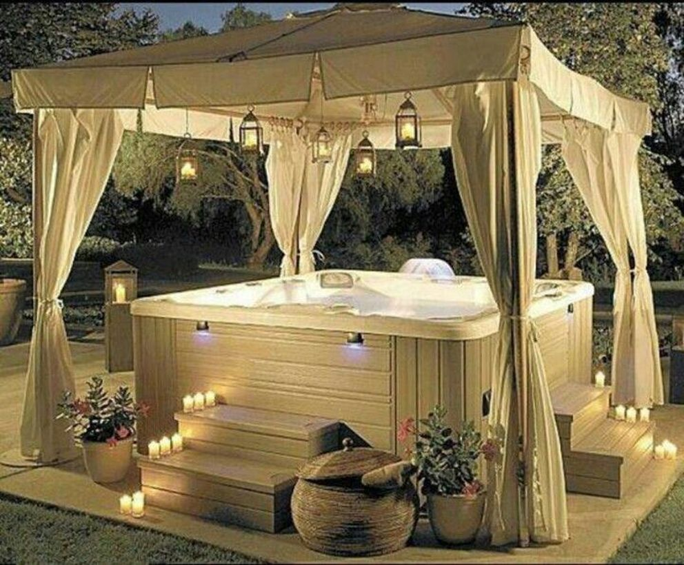 30 Proper Outdoor Hot Tub Designs for Your Private Relaxing Moment in fall