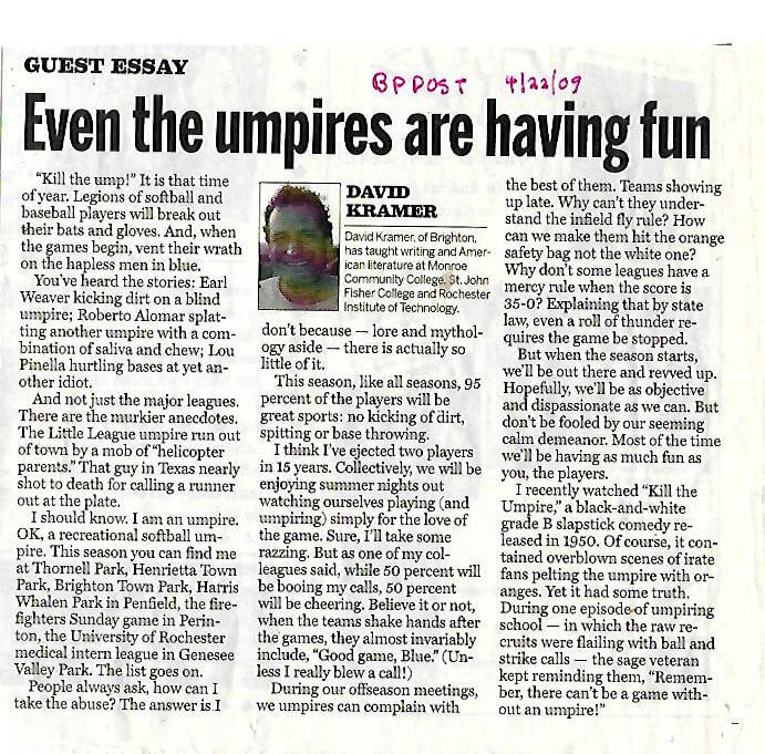 On umpiring from the Brighton Pittsford Post