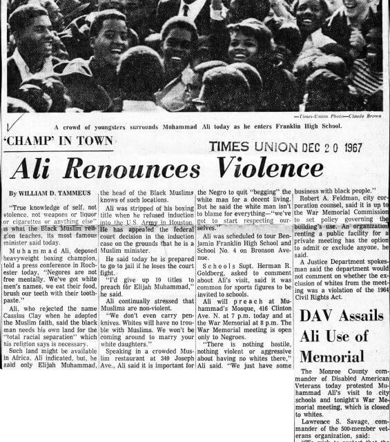 Do you remember in 1967 when Muhammad Ali spoke at Franklin and Madison?