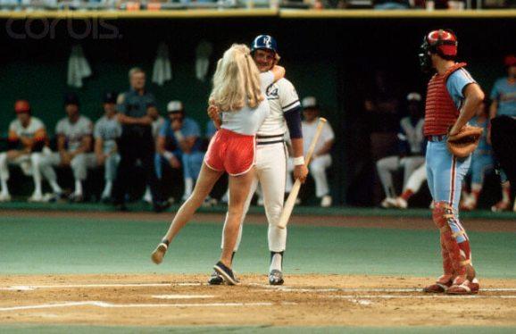 17 Jul 1979, Seattle, Washington, USA --- Morganna Hugging George Brett --- Image by © Neal Preston/CORBIS