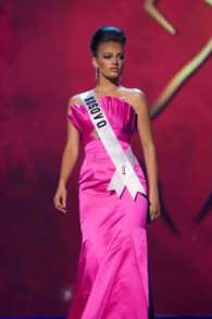 Zana Krasniqi, Miss Kosovo 2008, competes in a gown of her choice during the Evening Gown segment of the 2008 Miss Universe Presentation Show at the Crown Convention Center, in Nha Trang on July 8, 2008. She will compete in the 57th annual Miss Universe competition which will take place in Nha Trang, Vietnam at the Crown Convention Center on July 14, 2008 at 8 AM UCT (airing LIVE on NBC in the United States on July 13, 2008 at 9 PM (ET/delayed PT). HO/Miss Universe L.P., LLLP