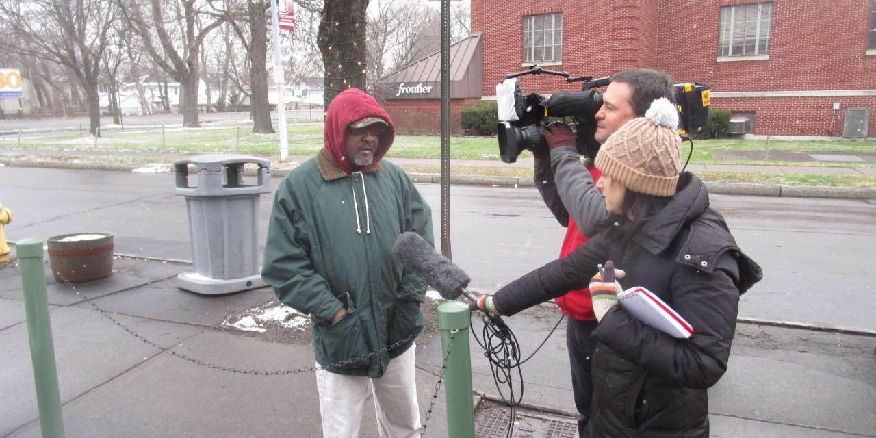 Talker interviewed this morning by ABC World News Tonight outside Merchants Grill. And Nazareth's Hickey Center for Interfaith Studies and Dialogue