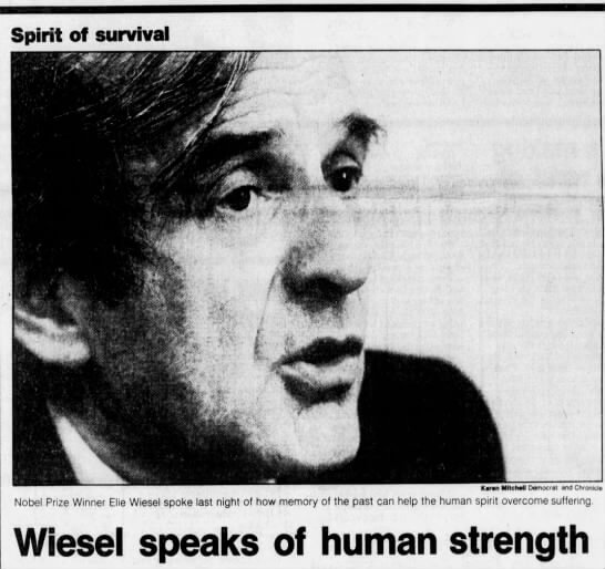 On Elie Wiesel and when the School Without Walls read Night