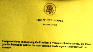Presidential Volunteer Service Award recipient thanks Obama, Servant-in-Chief