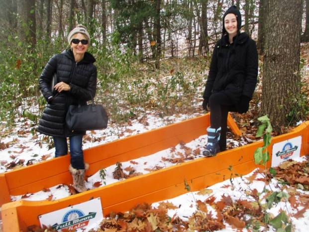 Blue Moon Vista barriers used at the Cyclocross. (left) Audrey Boyce; (right) Leslie Kramer, Cobb's Hill, 11/24/18 [Photo: David Kramer]