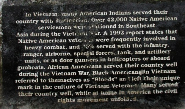 Plaque describing the contributions and sacrifices of Native Americans during the Vietnam War, the Vietnam Veteran Memorial of Greater Rochester in Highland Park. [Photo: David Kramer, 1/24/19]